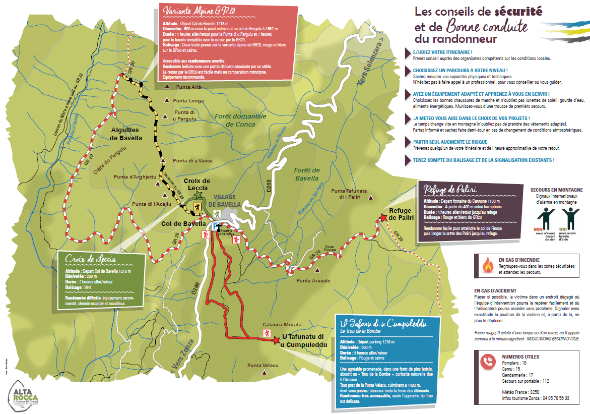Alta Rocca Tourisme corse du sud Bavella massif carte